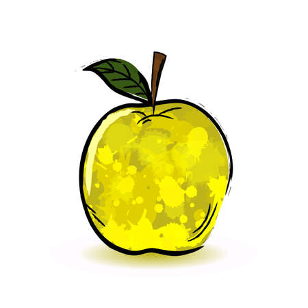 yellow apple: One yellow apple in abstract style