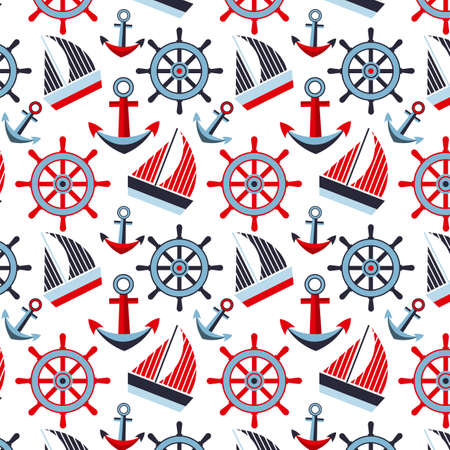 convoy: Marine pattern on a white background with ships anchors and steering wheels Vettoriali
