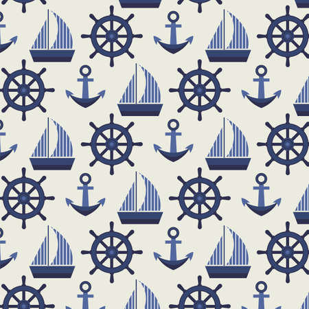 convoy: Marine pattern with ships anchors and steering wheels