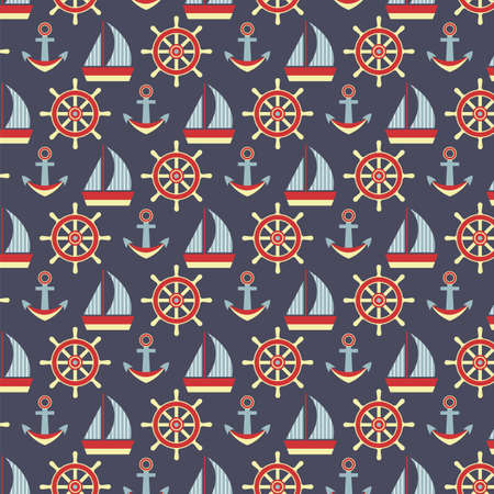 convoy: Sea pattern with anchors, steering wheels and ships Vettoriali