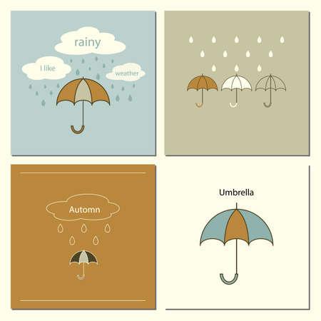 leaflets: Card with umbrellas. Templates for design of postcards, leaflets.