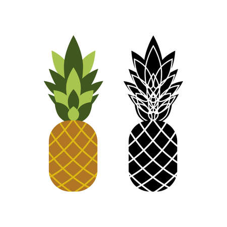 Two icons of pineapples on a white background