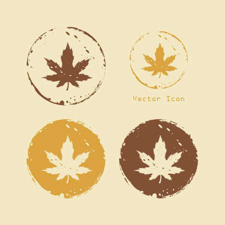 Round icons maple leaves