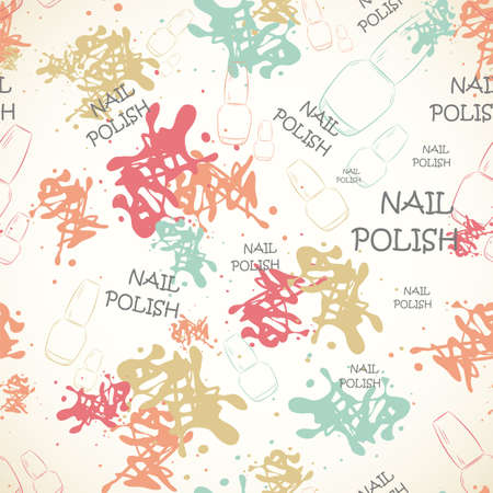 spilled: Seamless pattern with nail varnish for text and spilled paint. Fashion illustration