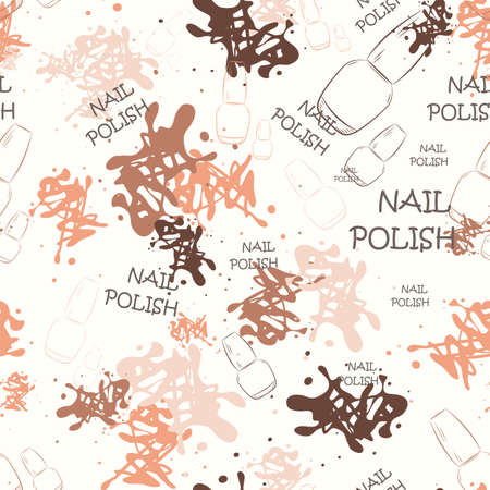 spilled paint: Seamless pattern with nail varnish for text and spilled paint. Fashion illustration