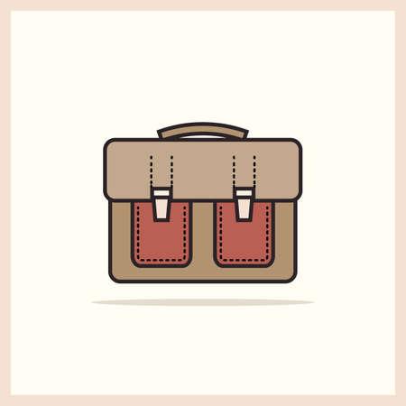 Una borsa singola icona di scuola in stile retrò Vettoriali