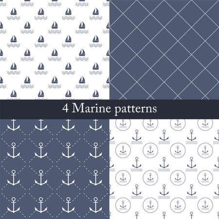 convoy: Set of seamless patterns on the marine theme in blue and white colors