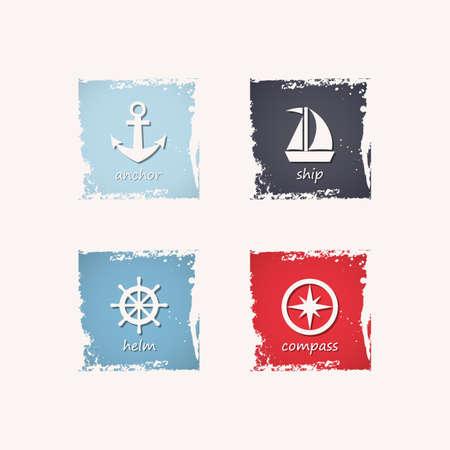 ship anchor: Anchor, ship, steering wheel and compass grungy icons. Vector