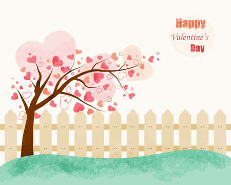 tree texture: Love Tree vector illustration in vintage style with soft colors. Valentines Day