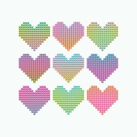 Set of colored hearts of squares and triangles. Vector