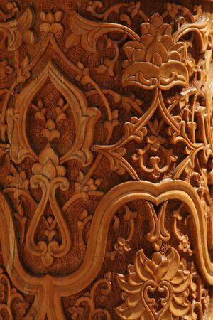 uzbekistan: closeup of Uzbekistan wood engraving Stock Photo