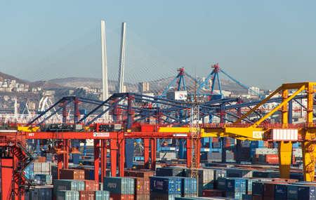 Vladivostok, Russia - January, 02, 2020: Container terminal of Vladivostok Commercial Sea Port.