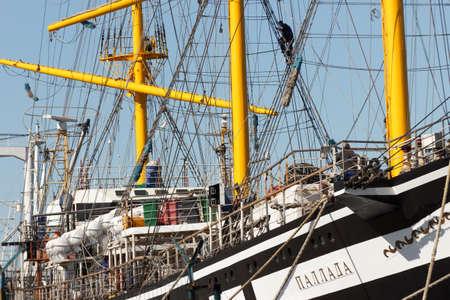 Vladivostok, Russia - October, 06, 2019: The crew of the sailing frigate