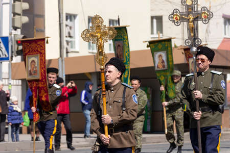 Vladivostok, Russia - April, 08, 2018: Cossacks (representatives of the ethno-social community - the Cossacks) during a procession of the cross for Christian Orthodox Easter.