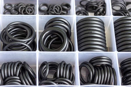 A set of rubber sealing gaskets. Rubber rings for creating tight connections in the automotive, marine and aviation industries.