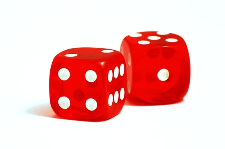 Two red casino dice on the white background photo