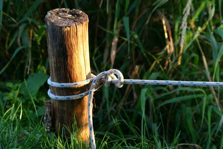 nautic: Mooring rope on the mooring pile