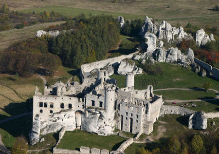 Aerial view of old castle ruins photo