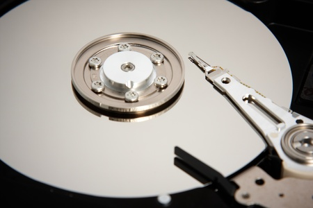 Closeup view of hard disk inside photo