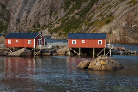 rorbu: Red rorbu cabins on Lofoten islands in Norway