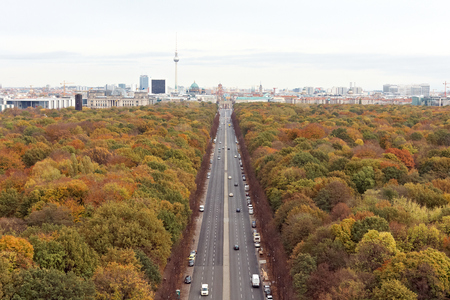 pictured: Autumn in Berlin from pictured from the Victory Column Stock Photo