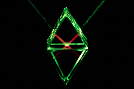 deflect: Green laser rays pass through and reflect inside the glass prism