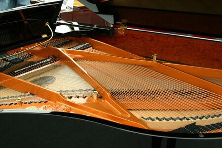 a grand piano: Strings inside the black piano Stock Photo