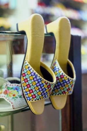 beaded: Beautiful handmade Beaded Shoes Stock Photo