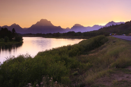 sunset at oxbow bend photo