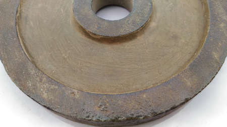 corrode: Sheet metal polishing color off some appear the rusty old.below Stock Photo