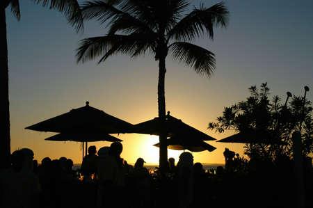 Sunset at a tropical resort 版權商用圖片