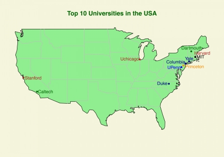 yale: map of Top ten  10  university in the USA
