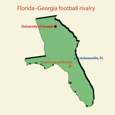jacksonville: 3d map Florida Georgia football rivalry in Jacksonville