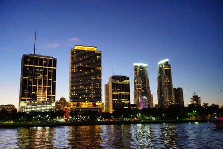 Miami downtown skyscrapers at sun set