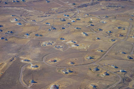 Aerial view of of farm in Colorado Stock Photo