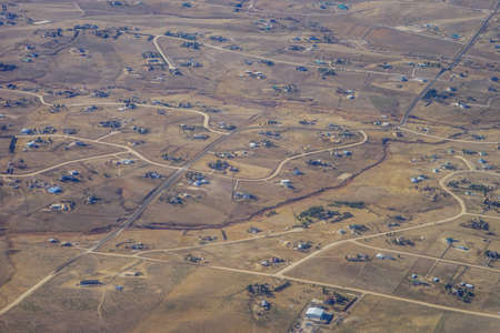 Aerial view of of suburban of Denver in Colorado, USA