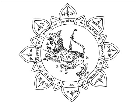 thai tattoo: Lion in literary of Thailand on Asia talisman