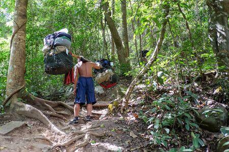 Loei, Thailand - Jan 27, 2017: Sherpas hold the belonging walking to the top of Phu kradueng National Park Editorial