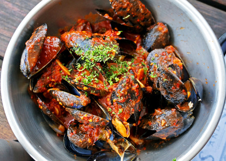 mouth watering: Mussels Stock Photo