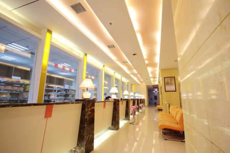 perspectiva lineal: La habitaci�n del hospital, mostradores de las farmacias Foto de archivo