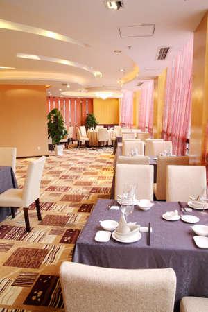 Hotel Restaurant interior and tableware Stock Photo