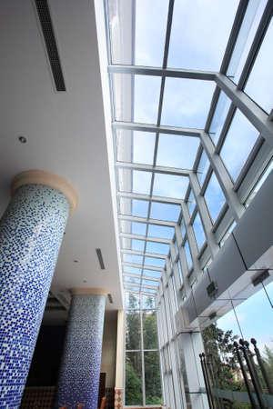 building lobby, decorative glass doors photo
