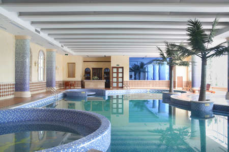 spacious indoor swimming pool, mediterranean style, leisure club Stock Photo