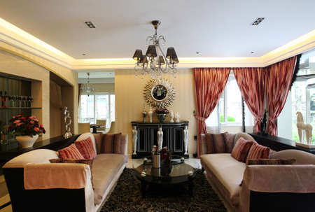 parlor: spacious living room, taken in july 2010 Stock Photo