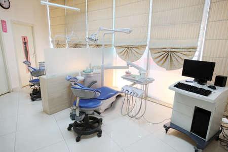 dental clinic: Bright Dental Hospital Room, Medical Equipment, construction of internal Stock Photo