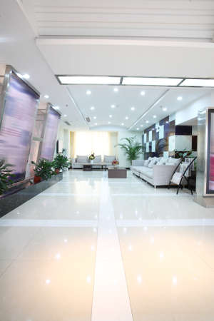 This is a hospital waiting lounge, inside the building