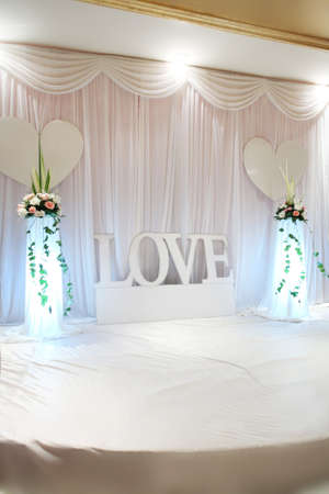 stage lighting: wedding arrangements photo, taken in october 2010