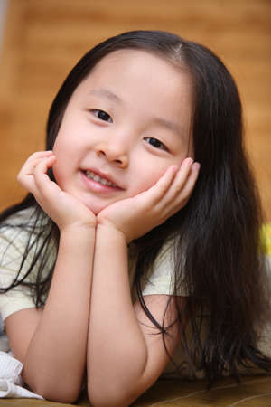 cute asian child, portrait photos, happy smile