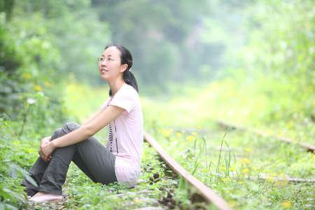 leisure life girls photos, green environment, portrait Stock Photo - 12018480