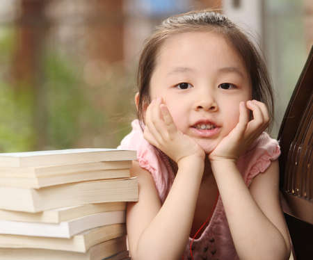 children and books, naughty children, asian children Stock Photo